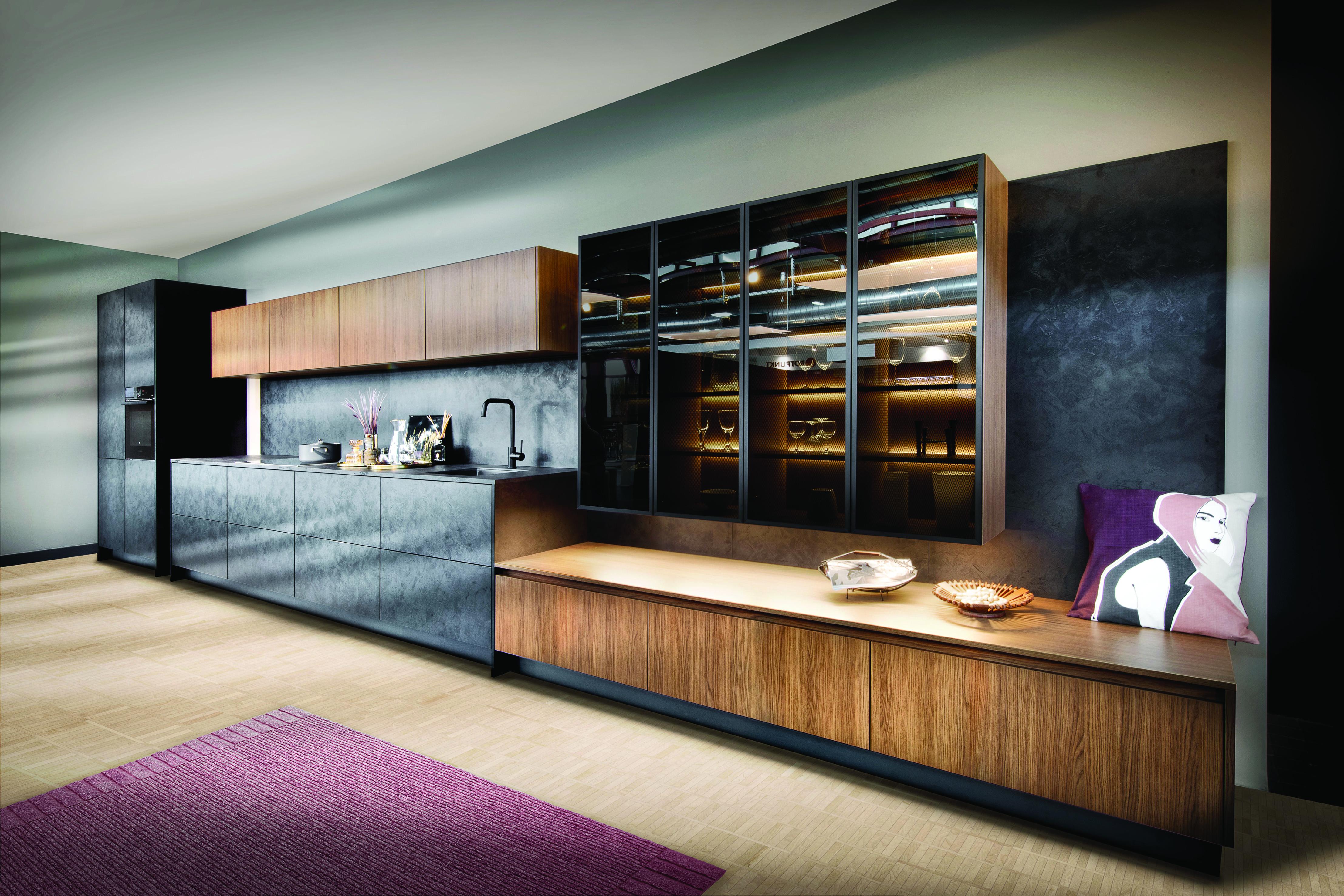 New Iron KQ Black Steel & Zerox City Brown Oak Kitchen by Rotpunkt – HR1