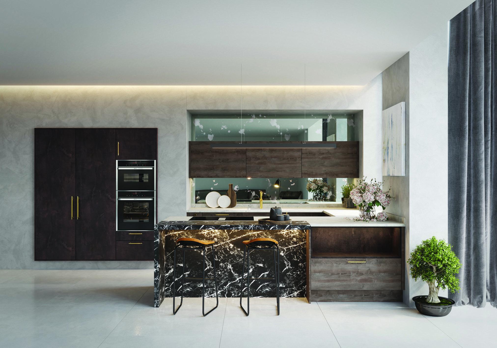 _New Bronze Mayfair & Cuban Oak Varenna kitchen by Daval – HR2
