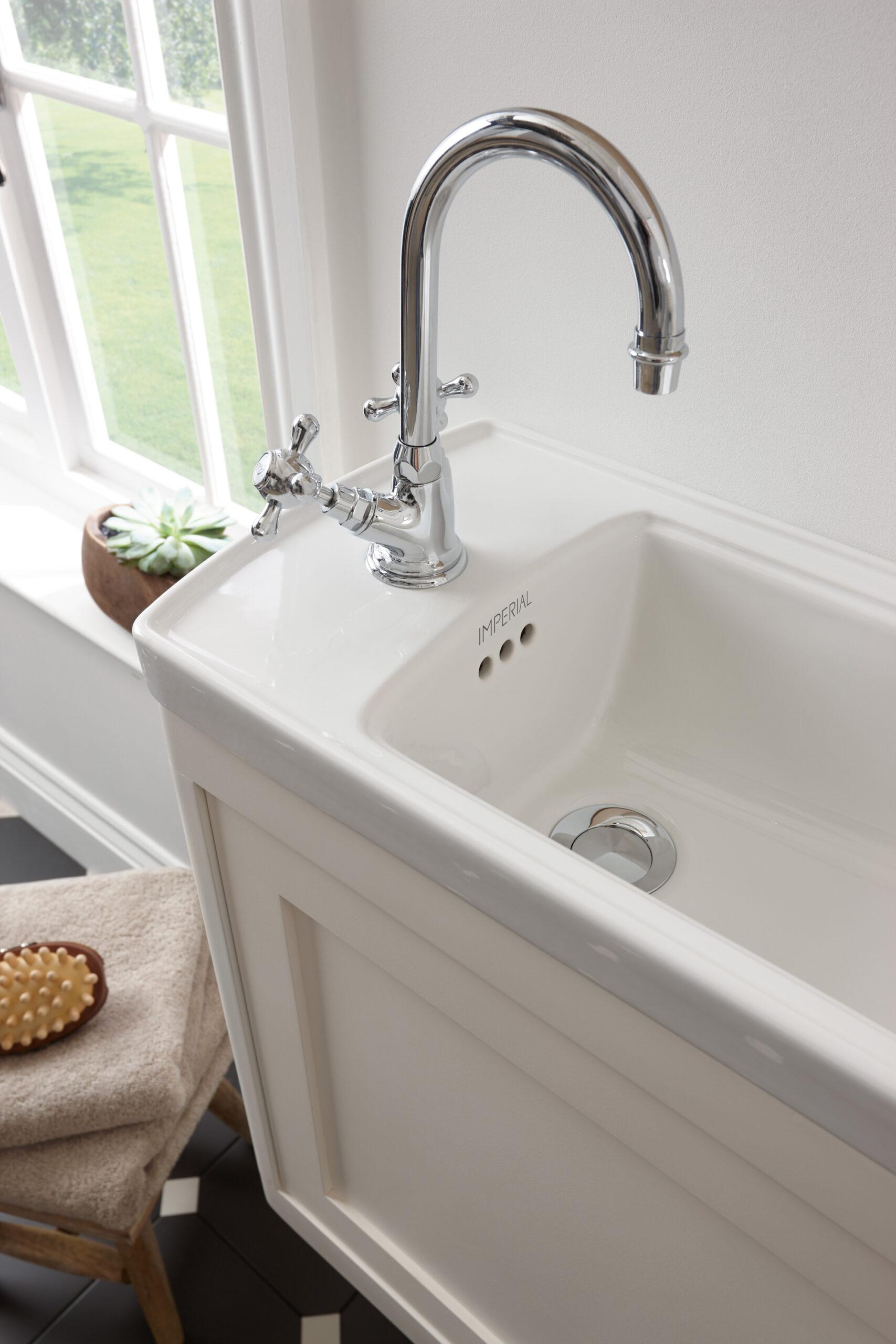 _Victorian cloak vanity monobloc basin mixer, Chrome